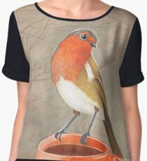 coffee loving robin bird Women's Chiffon Top