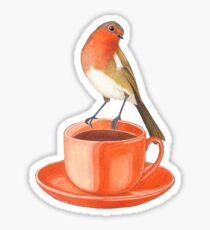 coffee loving robin bird Sticker