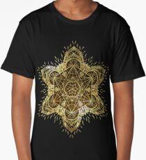 Golden Flower of Life in Mandala Long T-Shirt