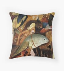 Detail of strange creatures from Hieronymus Bosch Throw Pillow