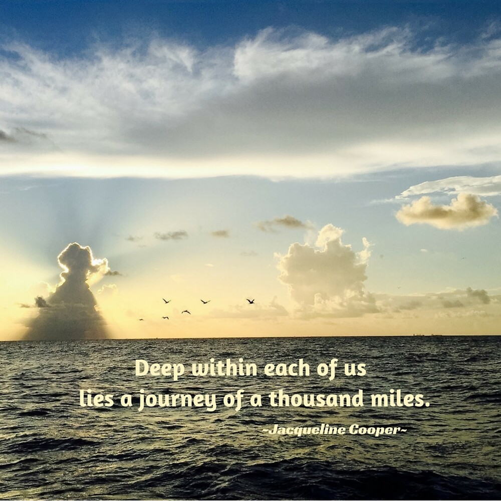 Ocean Sunrise with Journey Quote by Jacqueline Cooper
