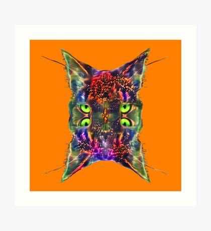 Artificial neural style Space galaxy mirror cat Art Print