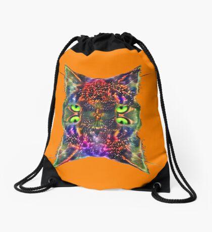Artificial neural style Space galaxy mirror cat Drawstring Bag