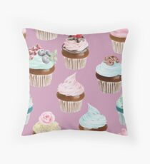 Watercolor Cupcakes Pattern Throw Pillow