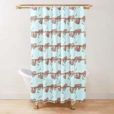 Baby Sloths hanging on Tree Pattern Shower Curtain