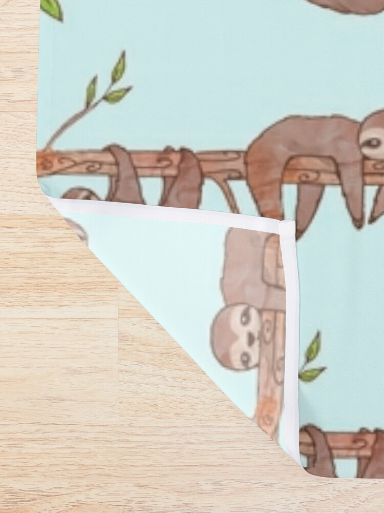 Alternate view of Baby Sloths hanging on Tree Pattern Shower Curtain