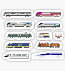 Railway Vehicles - The Kids' Picture Show - 8-Bit Trains Sticker