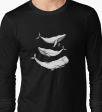 Whales in black Long Sleeve T-Shirt