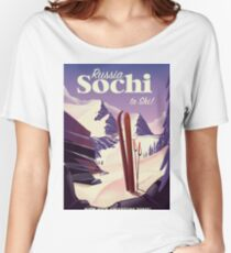 Sochi Russia Ski travel poster Women's Relaxed Fit T-Shirt