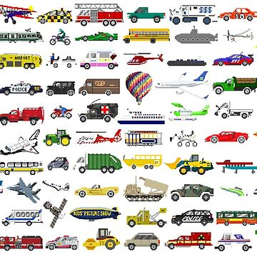 100 Vehicles - The Kids' Picture Show - Pixel Art by KidsPictureShow