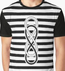 Black White Double Lemniscate on Stripes Pattern Graphic T-Shirt