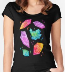 Watercolor Crystals // Black Women's Fitted Scoop T-Shirt