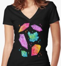 Watercolor Crystals // Black Women's Fitted V-Neck T-Shirt