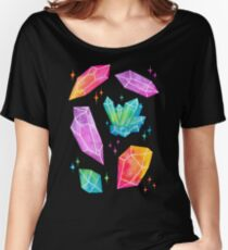 Watercolor Crystals // Black Women's Relaxed Fit T-Shirt