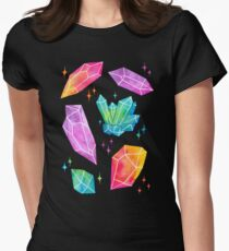 Watercolor Crystals // Black Womens Fitted T-Shirt
