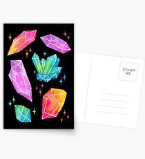 Aquarellkristalle // Schwarz Postkarten