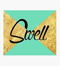 """Swell"" Gold Leaf Golden Teal Green Blue Font Typography Funny Silly Humor Modern Clean Lines Geometric Triangles Photographic Print"