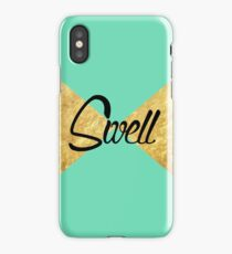"""""""Swell"""" Gold Leaf Golden Teal Green Blue Font Typography Funny Silly Humor Modern Clean Lines Geometric Triangles iPhone Case/Skin"""