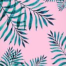Tropical Greenery On Pink by Ekaterina Chernova