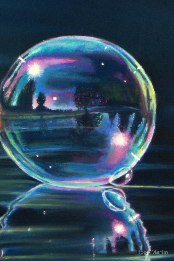 Landscape reflected on a soap bubble reflected on water by Hope Martin