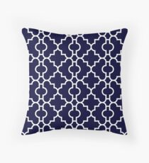 Navy Blue Fancy Perfect White Quatrefoil Throw Pillow
