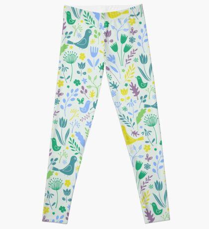Papercut Meadow - light - pretty floral bird pattern by Cecca Designs Leggings