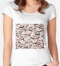 Camiseta entallada de cuello redondo Dachshunds o salchichas