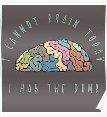 I Cannot Brain Today I Has the Dumb Poster