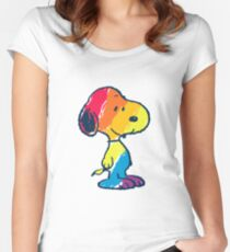 rainbow snoopy Women's Fitted Scoop T-Shirt