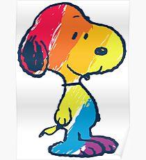 rainbow snoopy Poster