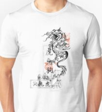 Asian Calligraphy Dragon Wave Symbol  Unisex T-Shirt