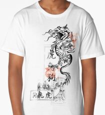 Asian Calligraphy Dragon Wave Symbol  Long T-Shirt