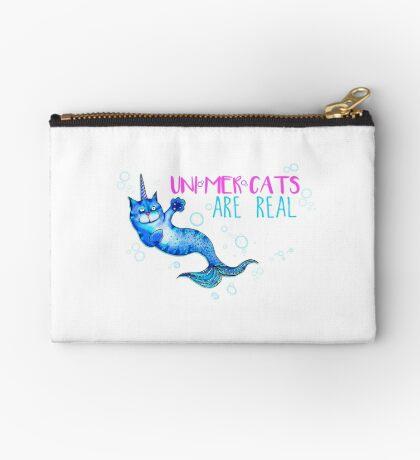 Unimercats are real (unicorn, mermaid, cat) Studio Pouch
