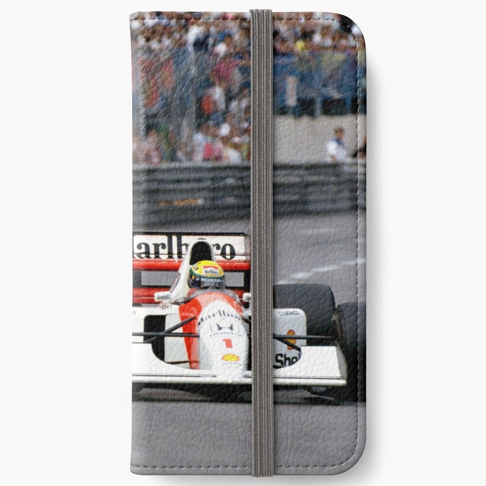 Ayrton Senna gegen Nigel Mansell in Monaco '92 iPhone Flip-Case
