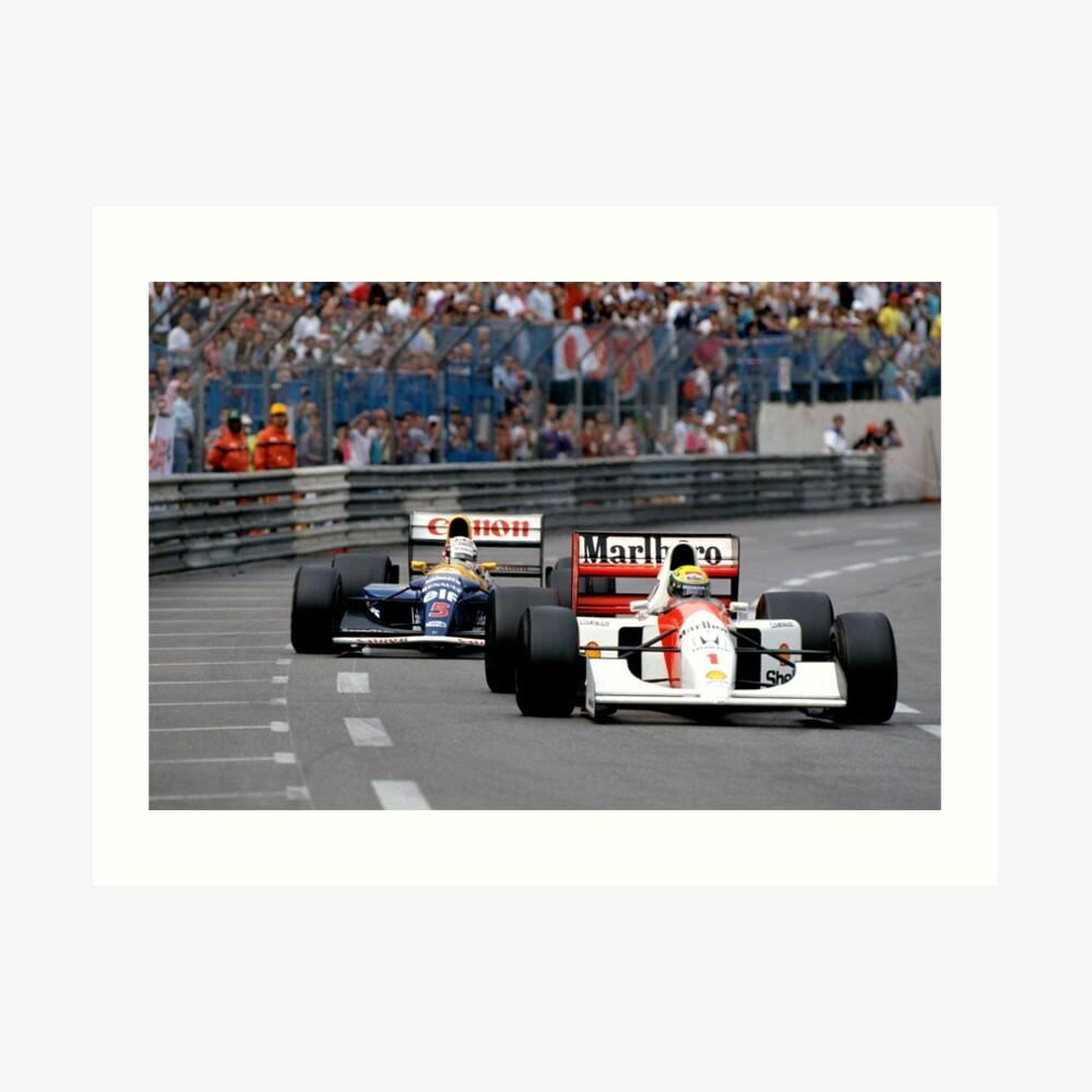 Ayrton Senna gegen Nigel Mansell in Monaco '92 Kunstdruck