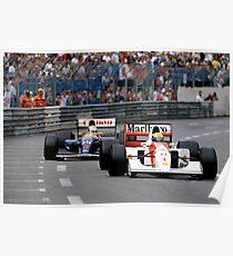 Ayrton Senna vs Nigel Mansell at Monaco '92 Poster