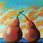 Romantic Pear - realistic food art still life painting by LindaAppleArt