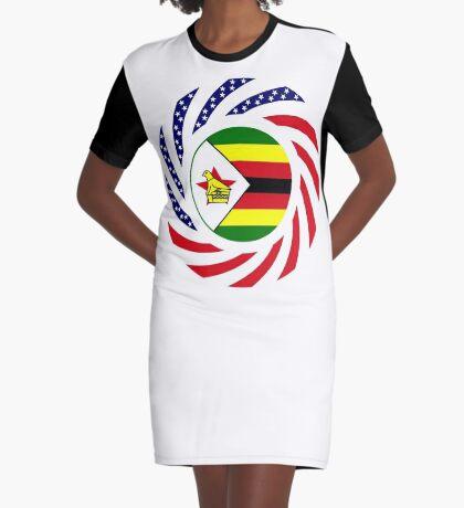 Zimbabwean American Multinational Patriot Flag Series Graphic T-Shirt Dress