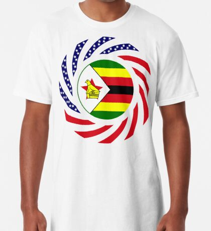 Zimbabwean American Multinational Patriot Flag Series Long T-Shirt