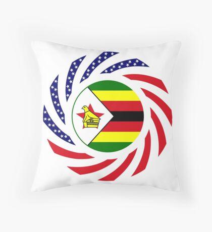 Zimbabwean American Multinational Patriot Flag Series Throw Pillow