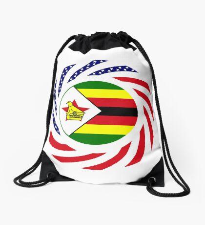 Zimbabwean American Multinational Patriot Flag Series Drawstring Bag