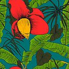 Seamless tropical pattern with banana palms.  by OlgaBerlet