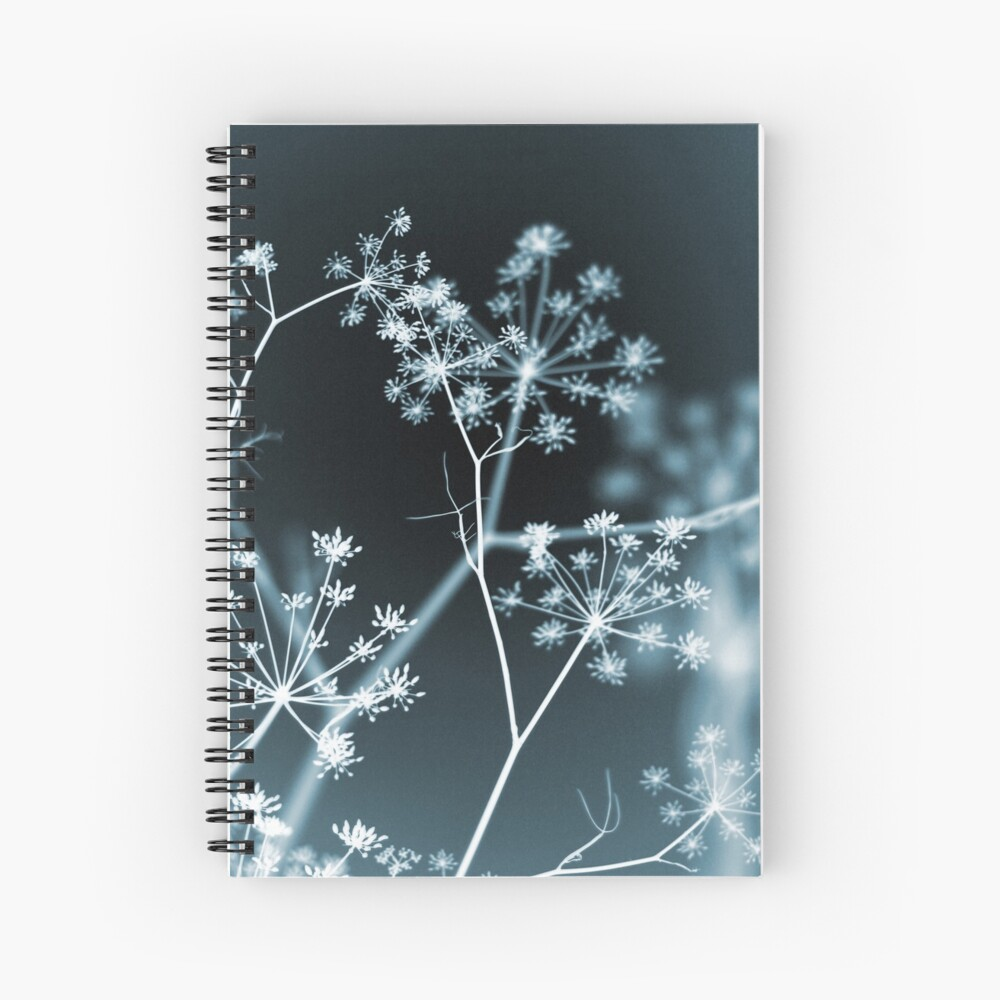 Midnight Glow. Dark Floral Spiral Notebook