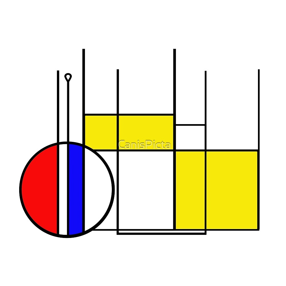 Modern Lines and Colors - Red Blue Yellow Black White Geometric by CanisPicta