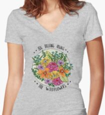 You Belong Among the Wildflowers Women's Fitted V-Neck T-Shirt