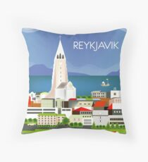 Reykjavik, Iceland - Skyline Illustration by Loose Petals Throw Pillow