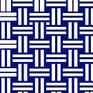 Blue and white basketweave pattern by HEVIFineart