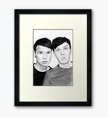 Dan and Phil Scanned Drawing  Framed Print