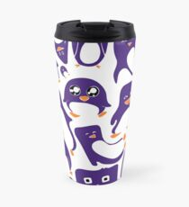 Purple Penguin Party Travel Mug