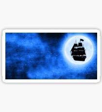 Flying Ship Blue Moon Sticker